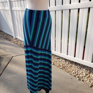 NWT Matty M teal blue black stripes maxi skirt sm